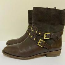 Coach Lilliana Boots Brown Leather & Suede Buckle Stud Womens Size 7 Photo