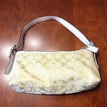 Coach Lime Green Canvas & Leather Cc Monogram Baguette Shoulder Bag E05m-8k01 Photo