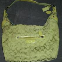 Coach Lime Green Signature Large Hobo Purse Photo