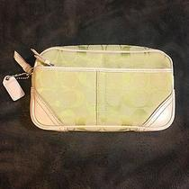 Coach Lime Green Signature With Off-White Leather Accents  Perfect Condition Photo