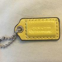Coach Lime Green / Yellow Leather Hangtag / Fob (Medium/small) Rare Photo