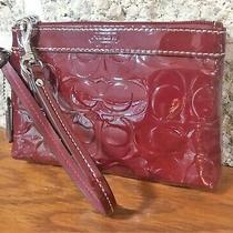 Coach Liquid Gloss Patent Leather Red Wristlet Wallet Bag Handbag Purse Phone Photo