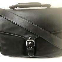 Coach 'Logan' 5238 Black Leather Briefcase Portfolio Laptop Bag With Strap Nwt  Photo