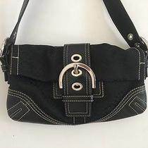 Coach Logo Canvas and Leather Bag Purse Black Photo