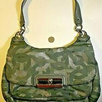 Coach Logo Green/grey Purse Handbag Metal Clasp Photo