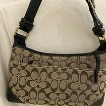 Coach Logo Handbag Purse Shoulder Bag Brown Womens Medium Canvas Bag Photo