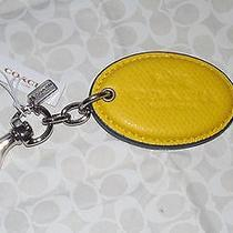 Coach Logo Lockup Horse & Carriage Emb Khaki Leather Key Handbag Fob Ring 63382 Photo
