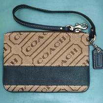 Coach Logo Wristlet With Dark Blue Stripe Photo