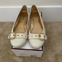 Coach Loiss Soft Patent Leather Flats Ivory Size 8 Photo