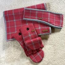 Coach Long Thick Scarf Headband and Fingerless Gloves/mittens Set  Nwot Photo