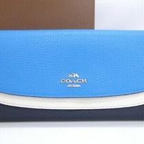 Coach Long Wallet Double Flap Color Block Leather Navy Light Blue 42170273600 K Photo