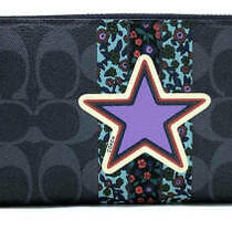 Coach Long Wallet Signature Accordion Zip Navy Star Stars Mens Women 'S Pvc Photo