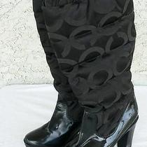 Coach Loryn Black Quilted W/ Patent Leather Women's Insulated Boots 8m Photo