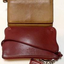 Coach Lot of 2 Wallet Clutch Wristlet Pouch Camel Card Case Red Leather as Is Photo