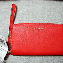 Coach Love Red Saffiano Ew Universal Cell Phone Wristlet Case Wallet 64976 Nwt Photo