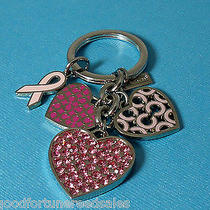 Coach Lr Crystal Breast Cancer Awareness Mix Charm Key Chain Ring  Heart Pink  Photo