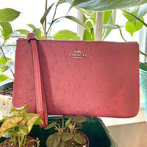 Coach Lrg Leather Wristlet Clutch Ostrich Embossed Strawberry Pink Photo