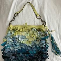 Coach Ltd Edition Ocean Blue Fish Scale Fringe & Tassel Bag Tote Sold Out Photo