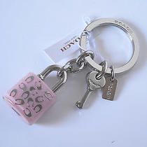 Coach Lucite Signature C Petal Pink Lock and Key Charm Key Ring Handbag Fob 50 Photo