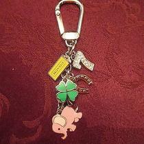 Coach Lucky Mix Key Chain Fob Charm Elephant Clover Horseshoe Crystal 7 Hangtag Photo