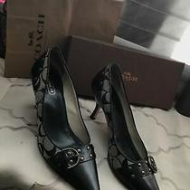 Coach Made in Italy Black Leather & Jacquard Tierney Buckle Pump 9.5 Photo