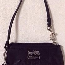 Coach Madison Black Leather Wallet/wristlet/ Iphone Silver  Detail Pleated Photo