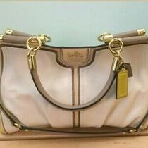 Coach Madison Carrie Satchel Parchement Beige Kiwi Color Block Hand Bag Purse Photo