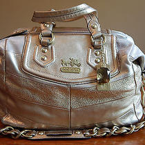 Coach Madison Chevron Leather Audrey Satchel - Gold Photo
