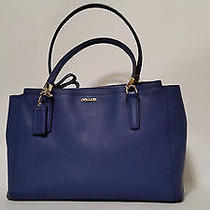 Coach Madison Christie Carryall in Saffiano Leather Lacquer Blue Great Condition Photo