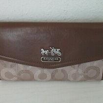 Coach Madison Dotted Op Art Signature Brown Khaki Trifold Wallet Clutch Euc Photo