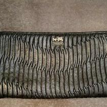 Coach Madison Gathered Leather Zip Clutch 46914 Silver / Black Rare  Photo