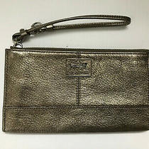 Coach Madison Gold Metallic Leather Zip Clutch Wristlet  Purse Organizer Photo