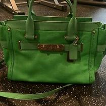 Coach Madison Green  Textured Leather Carrie Satchel Bag  Photo