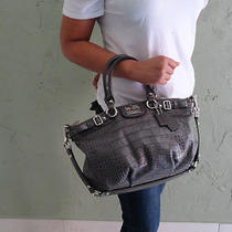 Coach Madison Grey Gray Croc. Leather Bag - Mint Condition - Photo
