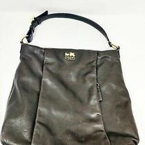 Coach Madison Isabelle Leather Hobo Purse Handbag Solid Dark Brown Gold 21224 Photo