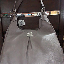 Coach Madison Leather Maggie Shoulder Hobo Bag Grey Quartz  Nwt Photo