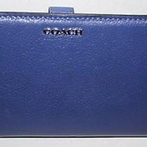 Coach Madison Leather Skinny Wallet Lacquer Blue Silver Hw Nwt  Photo