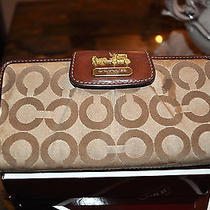 Coach Madison Op Art Envelope Wallet (Brown/khaki) Pre-Owned Photo