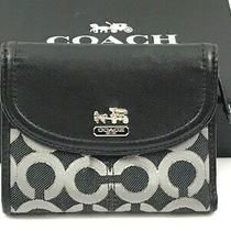 Coach Madison Op Art Gunmetal Black/silver Signature Medium Bifold Wallet 46660  Photo