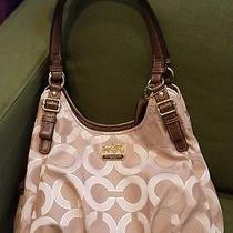 Coach Madison Op Art Khaki Brown Gold Metallic Outline Maggie Shoulder Bag 18765 Photo