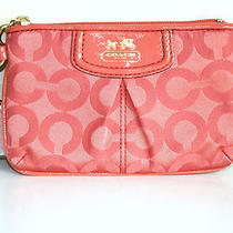 Coach Madison Op Art Papaya Small Wristlet Clutch 46645 Photo