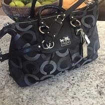 Coach Madison Op Art Sabrina Satchel 13862 Large Black/gray Silver Hardware Nice Photo
