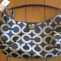 Coach Madison Op Art Sateen Hailey Black White Tote Bag Purse- 18653 Photo