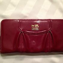 Coach Madison Patent Leather Maggie Wallet - Wine Photo