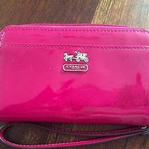 Coach Madison Patent Raspberry Pink Iphone Wristlet Wallet Purse Photo