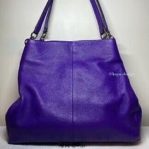 Coach Madison Phoebe Bag Shoulder Purse Tote Violet Purple Iris With Dust Bag Photo