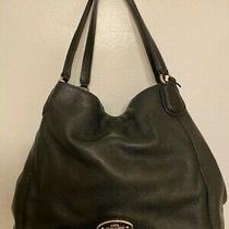 Coach Madison Phoebe Black Large Shoulder Bag Purse Soft Pebbled Leather  Photo