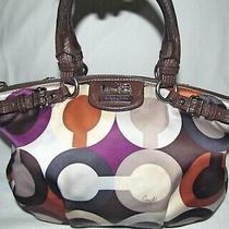 Coach Madison Purple Signature Op Art Scarf Satchel Shoulder Bag Purse Tote Photo