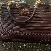 Coach Madison Purple  Textured Leather Carrie Satchel Bag  Photo