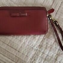 Coach Madison Red Leather Double Zip Wallet Wristlet F50468 Euc Msrp 128 Photo